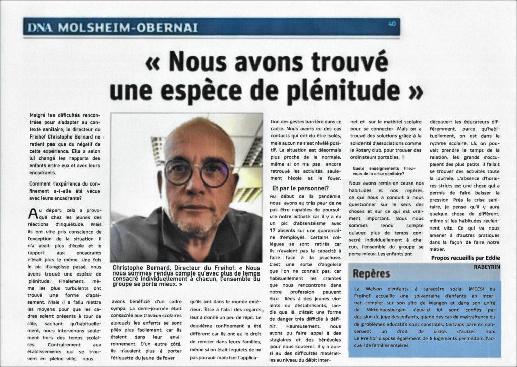 """Article de presse des DNA: le directeur du Freihof déclare:""""nous avons trouvé une forme de plénitude"""""""